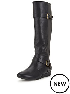 shoe-box-grove-double-buckle-low-wedge-calf-boot-black
