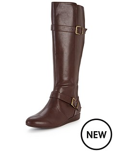 shoe-box-grove-double-buckle-low-wedge-calf-boot-brown
