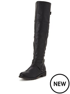 shoe-box-langford-cleat-sole-casual-flat-knee-boot-strap-detail-black