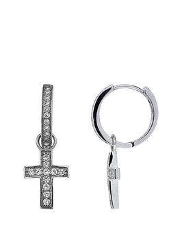 The Love Silver Collection Sterling Silver Cubic Zirconia Cross Hug