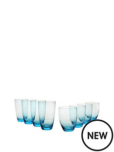 smokey-blue-tumblers-amp-highball-glasses-set-of-of-8