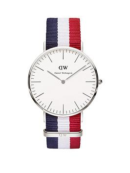 Daniel Wellington Daniel Wellington White Dial Silver Case With Navy/White/Red Nato Strap Mens Watch
