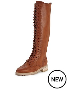shoe-box-nightingdale-lace-up-flat-pu-knee-boot-tan