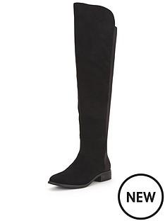 shoe-box-urswicke-thigh-high-imi-suede-flat-stretch-boot-black