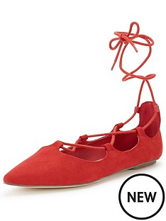 shoe-box-alma-ghillie-tie-lace-up-ballerina-red-faux-suede
