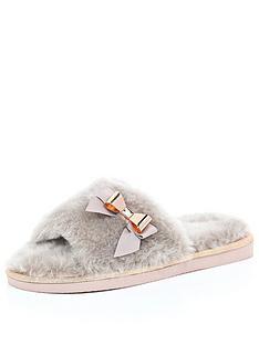 river-island-faux-fur-open-toe-mule-slippers
