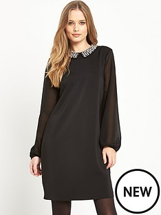 wallis-woven-embellished-collar-dress