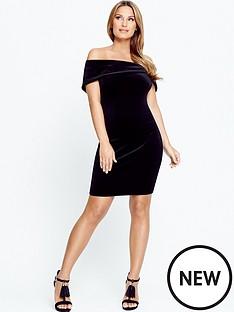 samantha-faiers-bardotnbspvelvet-bodycon-mini-dress