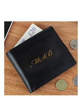 Very  Personalised Monogram Black Leather Wallet