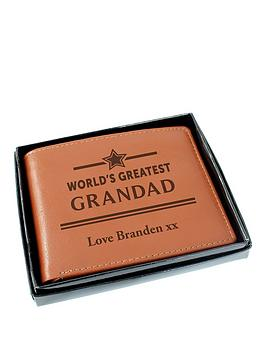 Very  Personalised World'S Greatest Grandad Tan Leather Wallet