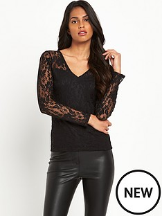 definitions-long-sleeve-jersey-v-neck-lace-top
