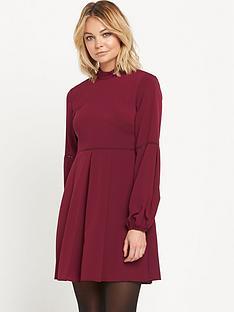 warehouse-high-neck-babydoll-dress