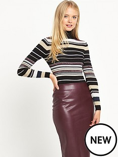 warehouse-sparkle-striped-polo-jumper