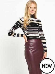 warehouse-sparkle-striped-polo-jumper