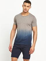 Crew Neck Short Sleeve Dip Dye T Shirt