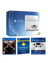 500Gb White Console with Call of Duty: Black Ops 3, with Optional 12 Months Playstation Plus and/or Dual Shock Controller 4