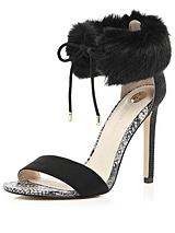 Faux Fur Ankle Barely There Sandal