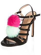 Bright Pom Pom Strappy Heeled Sandals