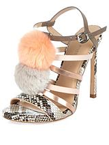 Pom Pom Strappy Heeled Sandals