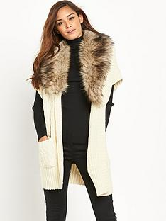 v-by-very-fauxnbspfur-collar-short-sleeve-cardigan