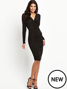 ax-paris-wrap-front-ruched-midi-dress
