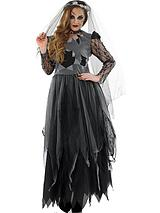 Black Corpse Bride Dress with Choker and Veil