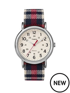 timex-timex-weekender-white-dial-with-red-plaid-strap-ladies-watch