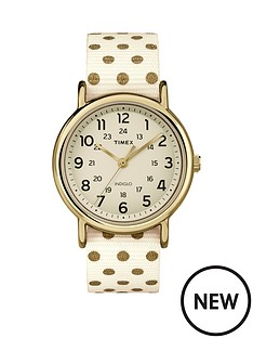 timex-timex-weekender-cream-dial-with-cream-with-gold-dots-strap-ladies-watch