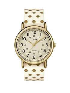 timex-weekender-cream-with-gold-dots-strap-ladies-watch