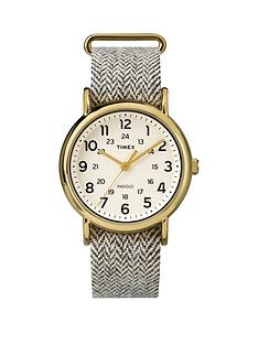 timex-weekender-cream-dial-with-beige-tweed-strap-unisex-watch