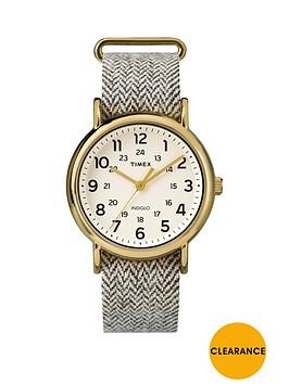timex-weekender-cream-dial-with-beige-tweed-strap-unisex-watch