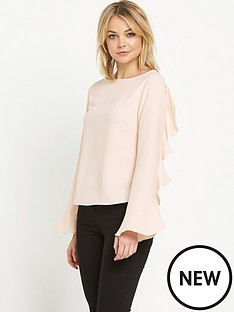 miss-selfridge-miss-selfridge-nude-frill-sleeve-blouse