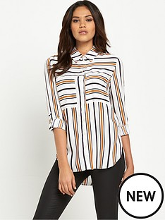 miss-selfridge-double-pocket-striped-shirt