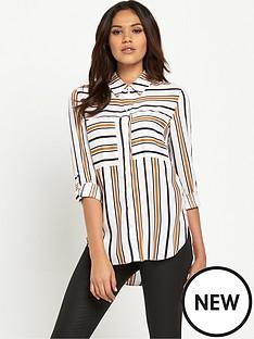 miss-selfridge-double-pocket-striped-shirt