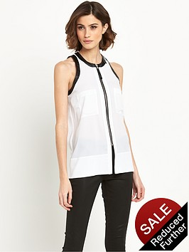 replay-leather-trim-blouse