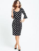 Spotted Bell Sleeve Shift Dress