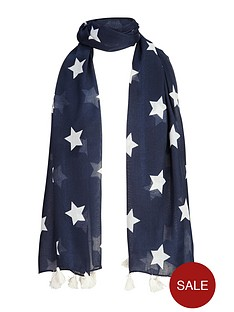 girls-star-print-tassel-trim-scarf