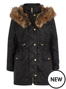 river-island-girls-black-waxed-parka-coat-with-faux-fur-trim