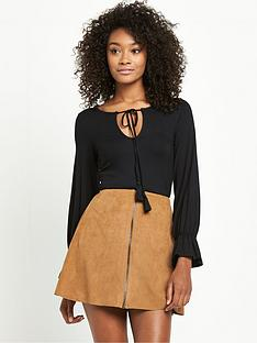 v-by-very-lace-up-volume-sleeve-top