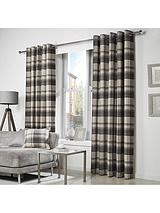 Westary Check Rustic Woven Eyelet Curtains
