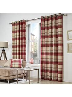 westarynbspcheck-woven-lined-eyelet-curtainsnbsp