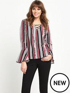 v-by-very-fluted-sleeve-stripe-top