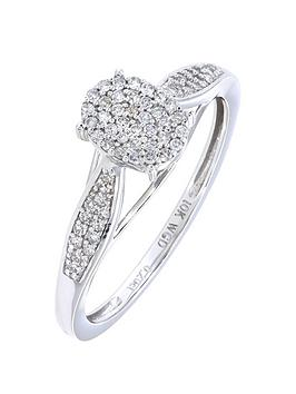 Love Diamond 9Ct White Gold 20 Point Diamond Oval Cluster Ring With Diamond Set Shoulders