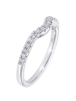 Love Diamond 9Ct White Gold 20 Point Diamond Shaped Eternity Ring