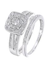 9ct White Gold 50 Point Diamond Square Set Split Shoulder Bridal Set of Two Rings