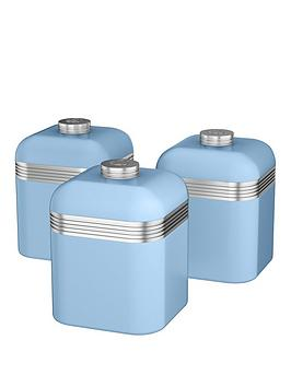 Swan Retro Set Of 3 Cannisters  Sky Blue