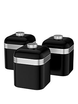 Swan Retro Set Of 3 Storage Canisters  Black