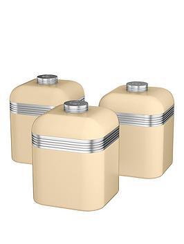 Swan Retro Set Of 3 Storage Canisters  Cream