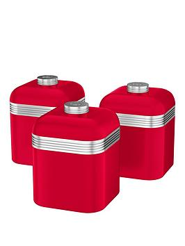 Swan Retro Set Of 3 Storage Canisters  Red