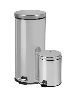 swan-30-litre-and-5-litre-bin-set-stainless-steel